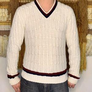 Vintage Robert Bruce Orlon White Sweater V-Neck